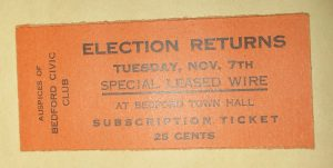 Ticket to Town Hall Election Returns 1916